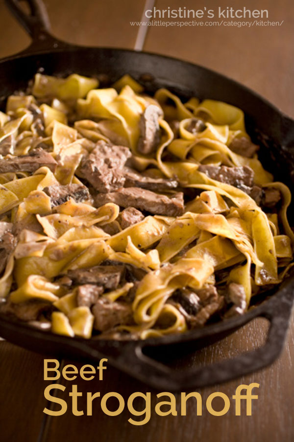 beef stroganoff | christine's kitchen at a little perspective